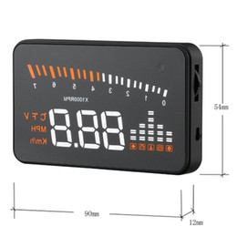 Wholesale X5 quot Automatic OBDII Car HUD Head Up Display Speedometer Detector Car Overspeed Alert MPH LED Windshield Projector Alarm System