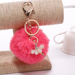 3.15 Inch Girl Women Fur Ball Rhinestone Ballerina Keychain Ballet Dancing Girl Handbag Accessories Car Key Chain For Bag 10pcs