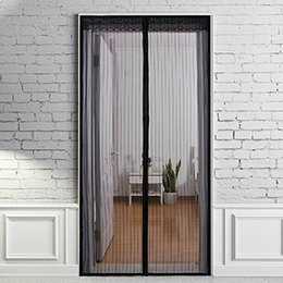 Wholesale 210X100cm Automatic Closing Magnetic Door Screen Anti mosquito Mesh Door Curtain Black