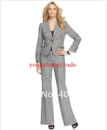 Gray Women Suits Custom Made Women Suit Notch Collar Jacket with Pant 676