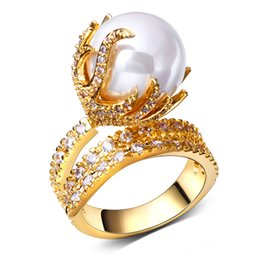 Wholesale Women simulated Pearl rings Made wiht AAA Cubic Zirconia Prong Setting Women simulated Pearl rings MadeFree Allergy Wedding Anniversary Gift