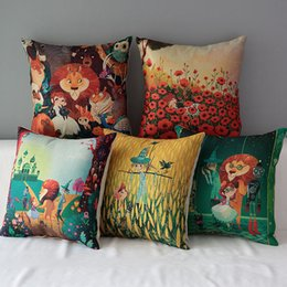 Wholesale 18 quot Square Cartoon The wizard of Oz emoji Fairy Tale Princess Cotton Linen Cushion Cover Sofa Decorative Throw Pillow Chair Car Home Decor