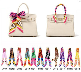 240 Styles Colorful Fashion Twilly Scarf Handbag Handle Decoration Accessories Handbag Twilly Brand Bow Hair Bands Scarves For Ladies 005