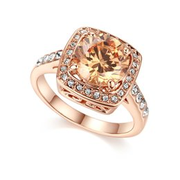 Fashion Lovers Promise Ring Classical Engagement Rings Yellow CZ Diamond Wedding Ring Rose Gold Plated Ring For Women