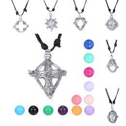 Mexican Bola Angel Callers Sound Chime Pendant Animal Angel Love Heart Cross Hollow Locket Pendant Necklace Adjustable length Rope Chain