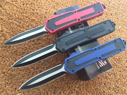 Wholesale Microtech Scarab Double action Dagger knife C steel Two tone Black satin Plain Tactical knives With nylon sheath Black Red Blue