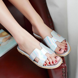 2016 summer new big size 33-45 flat square heel solid slip-on open toe patent leather ladies office scuffs shoes women slippers 153-7