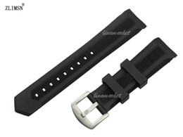 22mm New Black Diver Silicone Rubber Curved end Watch Band Strap with pin buckle