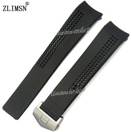 Watch Bands 20mm Black Diving Silicone Rubber Curved end Watch Band Strap & clasp buckle