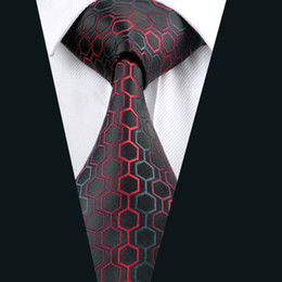 Business Red Black Silk Tie for Men Jacquard Woven Formal Work Suit Tie Classic 8.5cm Width D-0584
