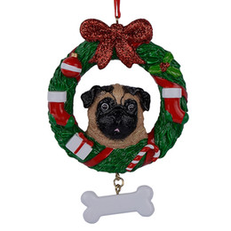 Wholesale Maxora Yellow Pug Dog Resin Crafts Shiny Personalized Christmas Ornament Hand Painted For Pug Owners gifts or Home Decor