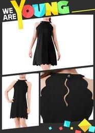 Wholesale Fashion Women Girls Sexy Black Mini Chiffon Dress Pub Short Skirt Open Shoulder Halter Neck Scalloped Hem Sleeveless ED000002