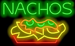 """Nachos Neon Sign Tortilla Typically Topped Melted Cheese Custom Real Tube Restaurant Fast Food Store Display Advertising Neon Signs 32""""X20"""""""