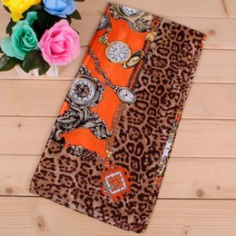 Wholesale 2016 Fashion Leopard Clock cm cm Large square Polyester scarves Ladies Muslim Scarf Latest trend
