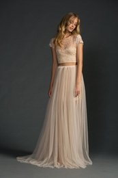 Champagne Sheer Bridesmaids Dresses Two Pieces Grace Tulle Beach Bridesmaid Gowns Sexy Illusion Back Lace Dress