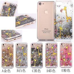 Wholesale Galaxy S5 S6 S6edge S7 S7edge glitter case Running Quicksand Liquid Dynamic Giraffe Monkey printing shining Cover for iphone6 plus plus