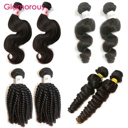Glamorous 2 Bundles Virgin Human Hair Natural Color Peruvian Malaysian Brazilian Indian Filipino Remy Hair Weaves 100g pcs Free Shipping