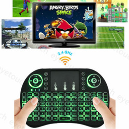 Wholesale Rii I8 Mini Keyboard Wireless Backlight RED Green Blue Light Air Mouse Remote With Touchpad Handheld For T95 M8S S905X S905 S912 TV BOX p
