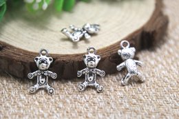 Wholesale 30pcs Teddy bear Charms Antique Tibetan silver Teddy bear charm pendants x17mm