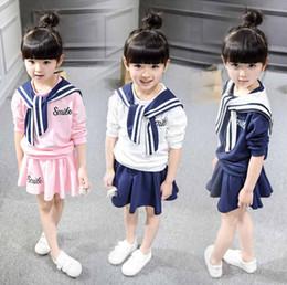 Compra Online Faldas para las muchachas de los niños-Ropa infantil 2016 primavera y otoño bebé niñas algodón mezcla trajes manga larga hoodie y faldas de 2-7 años bebé estilo de la Marina.
