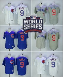 Wholesale 2016 World Series Patch Javier Baez elite Flexbase Jersey Chicago Cubs Baseball Jerseys Pinstripe White Baby Blue Grey Beige All Stitched