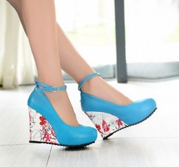 Fashion Ankle Strap 2016 High Wedges Platform Summer Pumps For Women Casual Elegant Flower Print Wedges Platform Shoes