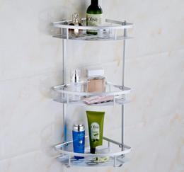 Wholesale hollow panel triangle bathroom shelf triple tier fixed wall mounted shampoo soap body lotion storage rack