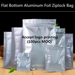 200pcs lot Resealable Small Flat Bottom Aluminum Foil Zip Lock Bag Food Moisture-proof Zipper Storage Pouch Custom Logo Bag