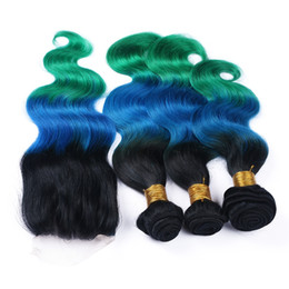 Three Tone Peruvian Body Wave Ombre Hair 3 Bundles With Lace Closure Teal Ombre Hair Extensions With Top Closure 1B Blue Green