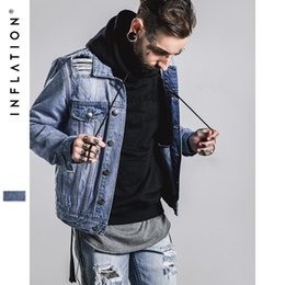 Wholesale INFLATION Denim Jacket Men With Hole Fashion Streetwear Jaqueta Jeans Masculina Mens Jackets And Coats Oversize Kanye West