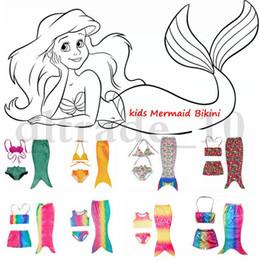 Mignon cosplay fille en Ligne-Mignon 3 Set Date Queue Bébés filles Mermaid Costume Bikini Enfants Enfants Mermaid Tails Maillot de bain Shorts Cosplay HHA1019