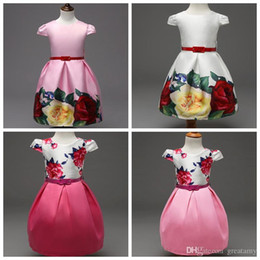 Latest design baby girl's princess dress with belt children floral skirts kids boutique clothes girls outwear