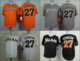 Wholesale Miami Marlins Jerseys Blank Giancarlo Stanton Jersey White Black Grey Cool Base