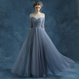Wholesale Pleated A line Chiffon Evening Dresses Elegant Beading Pearls Sleeves Floor Length Prom Dresses Robe De Soiree