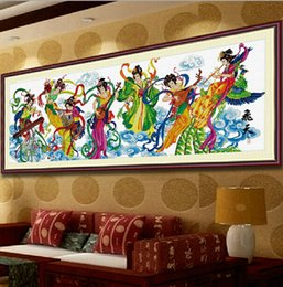 Wholesale Living Room Decorative Painting Lobby Painting Crafts Printing Cross stitch Character Beauty Flying Seven Fairies Xia Fan Pi