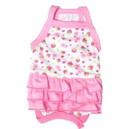 Cheap 100Pcs Lot Spring Summer Pet Dog Cute Dress Straberry Pattern Pet Skirt Dog Clothes Small Medium Pets Hot Sale