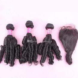 Unprocessed Peruvian Human Funmi Hair With Closure Romance Curls,8A Aunty Funmi Hair Weave 3 Bundles With Lace Top Closure 4Pcs Lot