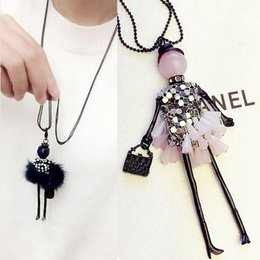 Wholesale 2016 News Handmade Dress Crystal Piece Sequins Girl Doll Pendants Long Necklace Sweater Chain collier Women Accessories N437