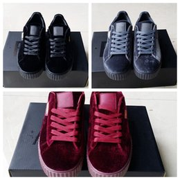 With original box 2017 New Velvet Rihanna x Suede Creepers Rihanna Creeper Grey Red Black Women Men Fashion cheap Casual Shoes sneakers