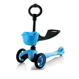 Wholesale Children roller skating a scooter Flash pedal multi function walkers can sit triad seat skateboard adjustable height Children s scooters
