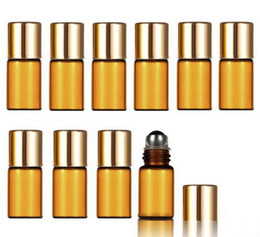 3ml Essential Oil Amber Glass Roll on Bottles for Essential Oils, Perfumes, Lip Balm, Lip Gloss With Stainless Steel Roller Ball