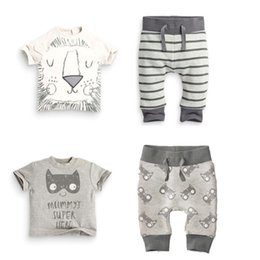 Wholesale Retail spring infant clothes baby clothing sets boy Cotton little monsters and the lions short sleeve baby boy clothes Christmas g