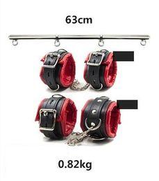 Heavy Duty Portable Detachable Steel Leg Spreader Bar Restraint System With Padded Leather Ankle & Wrist Cuffs Bondage Gear