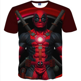 Wholesale New Fashion Men s T shirt d funny printed Anime Animate Characters Deadpool t shirt short Sleeve Summer tops Tees