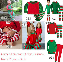 Wholesale 2017 New Christmas Pajamas Long Sleeve Pyjamas Boy Girl Autumn Winter Pajamas Kids Pajama Sets Xmas Pajamas Baby Sleepwear Kids Cothes Set