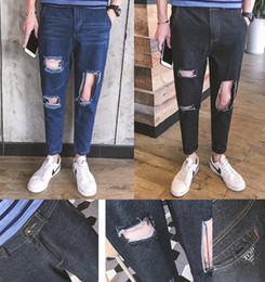 2016 Black blue kpop skinny ripped korean hip hop fashion pants cool mens urban clothing jumpsuit men's jeans kanye west slp fear of god