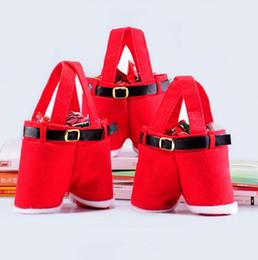 Wholesale Cartoon Wedding Gift - Santa Pants Pattern Christmas Candy Bags Christmas Decoration Wedding Candy Bags Lovely Gifts Xmas Bag For Children 20X17CM