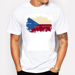 Wholesale Czech Republic National Flag Mens T shirts Short Sleeve Rio Summer Games Fans Cheer Gym T shirts For Men Plush Size XL