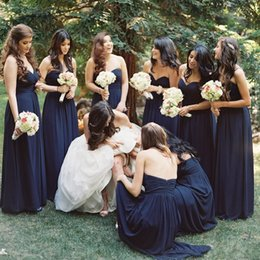 Dark Navy Chiffon Bridesmaid Dresses A Line Sweetheart Pleats Long Maid Of Honor Gowns Cheap Evening Party Dresses Wedding Guest Gowns