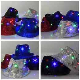 Wholesale Lighted Wholesale Fedora - Flashing Light Up Led Fedora Trilby Sequins Caps Unisex Fancy Dress Dance Party Jazz Hat Festival Carnival Costume cowboy hats 5 colors